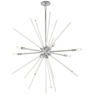 "Kovacs P1794-077 Spiked 6 Light 35"" Wide Sputnik Chandelier with Clear Glass Bar"