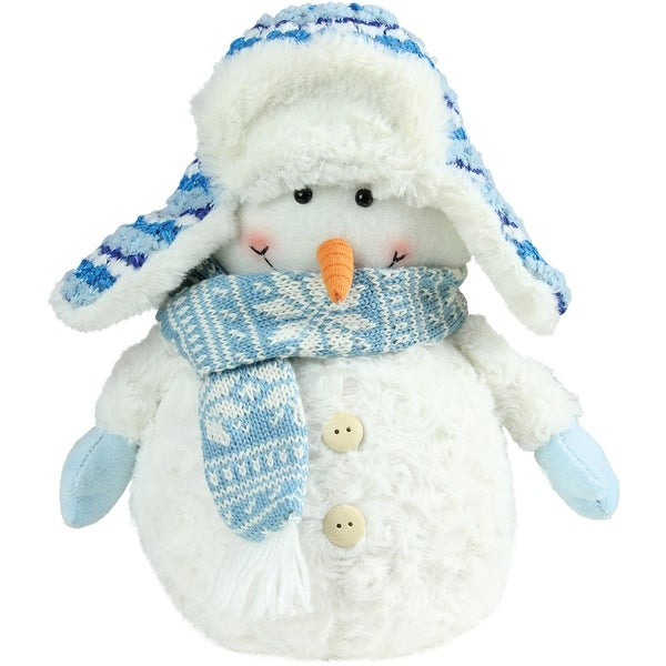"11.5"" Arctic Blue and White Snowman Wearing Trapper Hat Christmas Decoration"