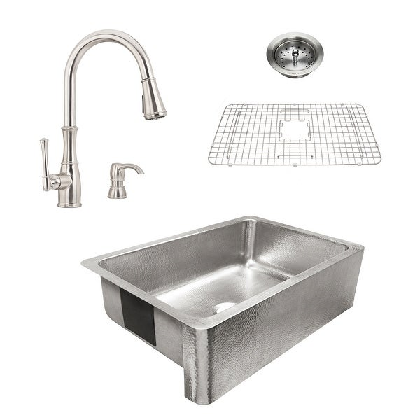 Percy Apron-Front Brushed Stainless Steel 32 in. Single Bowl Kitchen Sink with Pfister Wheaton Faucet All-in-One Kit. Opens flyout.