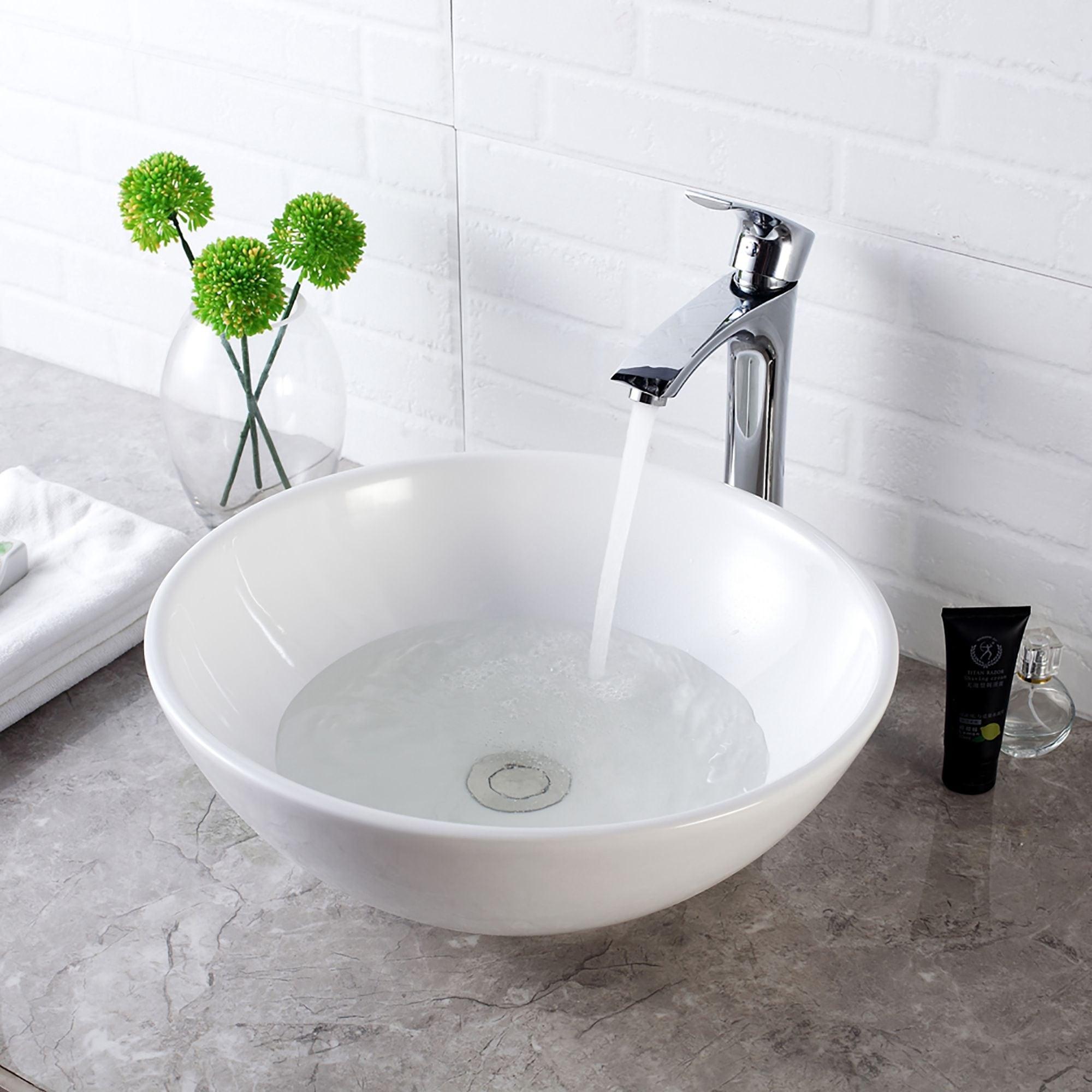 White Ceramic Oval Vessel Bathroom Sink Overstock 31636730