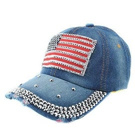 Unisex USA Flag Rhinestones Trucker/Baseball Cap Hat Stars & Stripes American