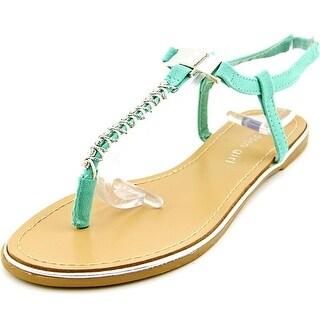 Madden Girl Nelly Women Open-Toe Canvas Green Slingback Sandal