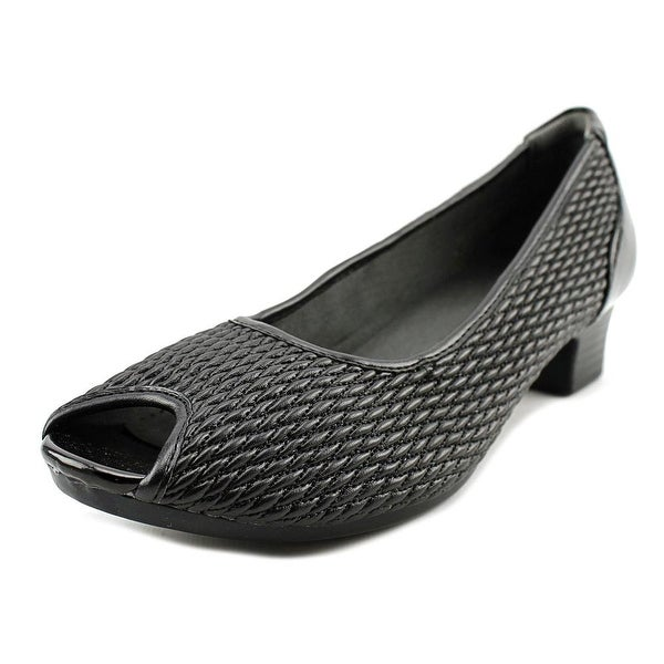 FootSmart Peggy Women Peep-Toe Synthetic Black Heels