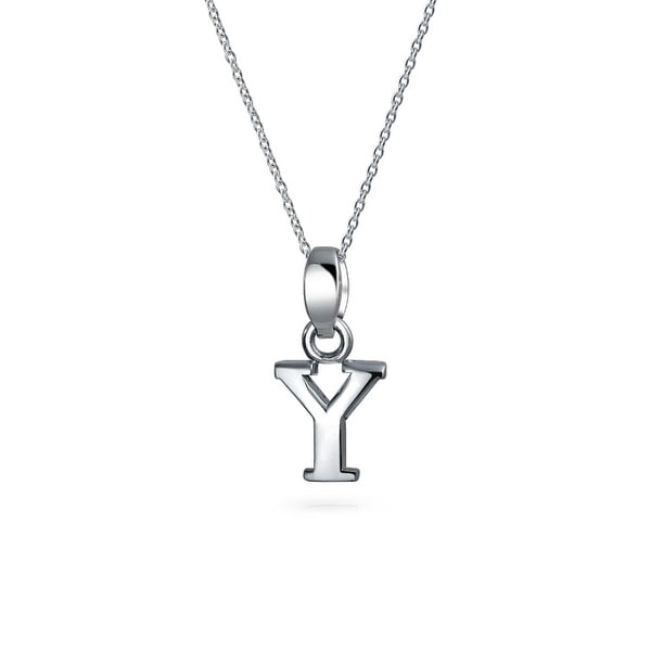 5837dd80671a46 Bling Jewelry Block Letter Y .925 Sterling Silver Initial Pendant Necklace  18 Inches