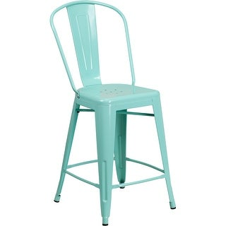 Brimmes 24'' High Mint Green Metal Indoor/Outdoor/Patio/Bar Counter Height Stool w/Back
