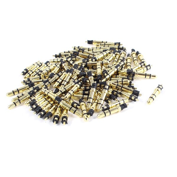 100 Pcs Gold Tone 3 Pole Stereo Audio Male Connector Solder 3.5mm Plug
