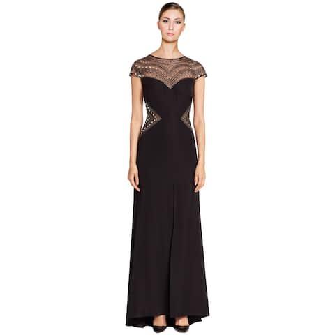 Tadashi Shoji Embellished Cap Sleeve Evening Gown Dress Black/Silver
