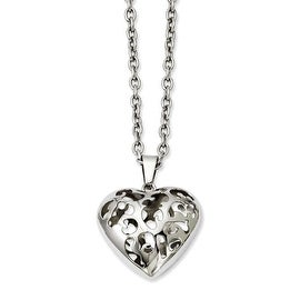 Stainless Steel Puffed Heart 20in Necklace (3 mm) - 20 in