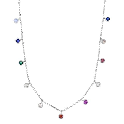 Handmade Versatile Multicolor Cubic Zirconia Round Charms Sterling Silver Chain Necklace (Thailand)