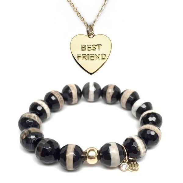 Black & White Agate Bracelet & Best Friend Heart Gold Charm Necklace Set