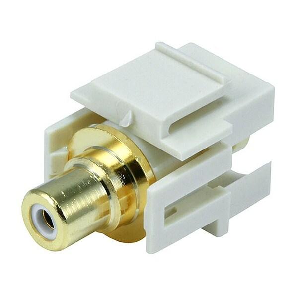 Monoprice Modular RCA Coupler Keystone Jack w/White Center, Flush Type - Ivory