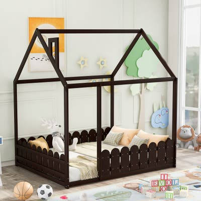 Full Wood House Bed with Fence, for Kids,Teens,Girls,Boys (Espresso)