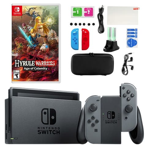 Nintendo Switch in Gray with Hyrule Warriors and Accessory Kit