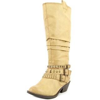 Report Kathye Women Round Toe Synthetic Mid Calf Boot