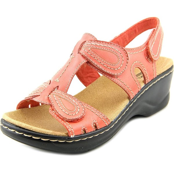 Clarks Narrative Lexi Walnut Women  Open Toe Leather Pink Wedge Sandal