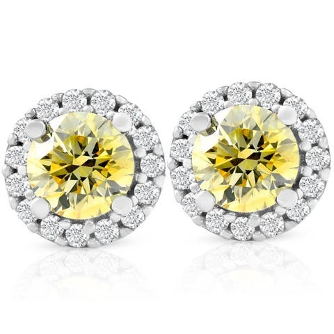 1/2 Ct Halo Fancy Canary Yellow Lab Grown Diamond Studs 10k White Gold Earrings