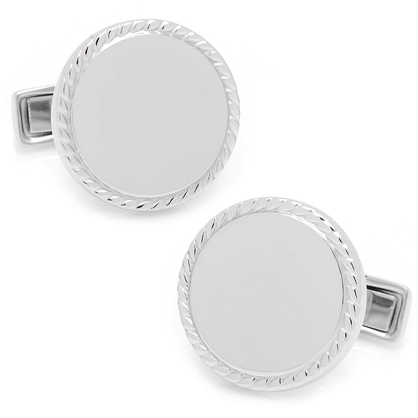 Sterling Silver Rope Border Round Engravable Cufflinks