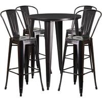 Brimmes 5pcs Round 30'' Black-Antique Gold Metal Table w/4 Cafe Barstool