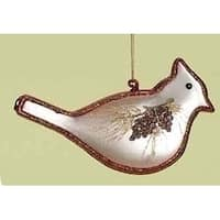 """5.5"""" In the Birches Hand Blown Glass Cardinal Bird Christmas Ornament - White"""