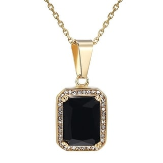 Designer Black CZ Ruby Pendant Gold Tone Over Stainless Steel Free Necklace For Womens