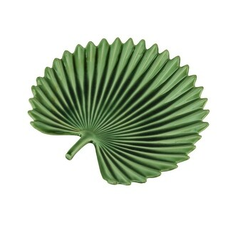 Tropical Fan Palm Leaf Ceramic Decorative Plate