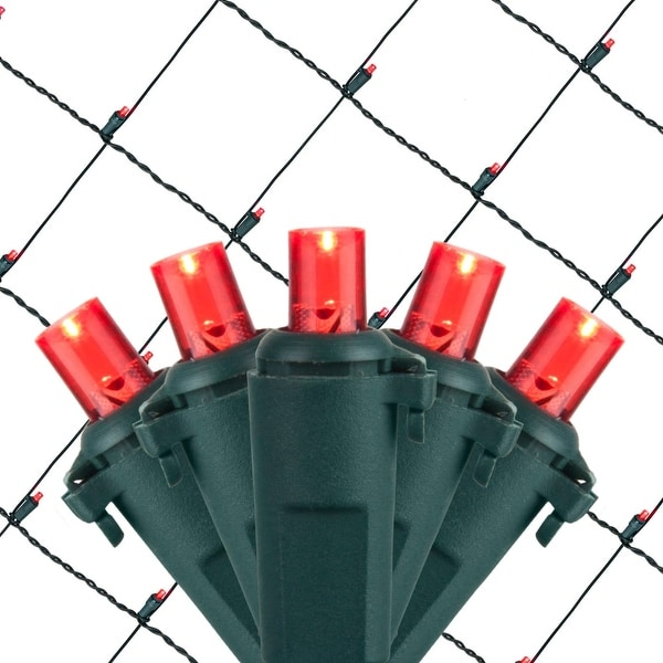 Wintergreen Lighting 72504 100 Bulb 4Ft x 6 Ft LED Decorative Holiday Net Light - RED - N/A