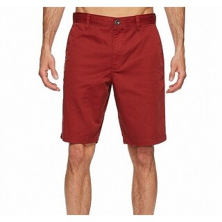 RVCA Red Mens Size 33 Solid Flat Front Weekend Chinos Shorts