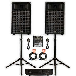 """Acoustic Audio BR10 DJ Speaker Set 10"""" Passive Speakers with Amp Mixer Stands and Cables for PA Karaoke Band"""