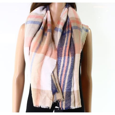 David & Young Cream Beige Blue Pink Women's One Size Plaid Scarf 341