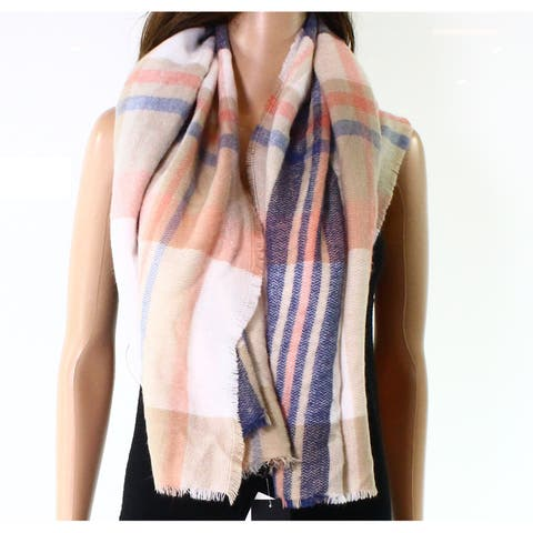 David & Young Cream Blue Pink Women's One Plaid Scarf