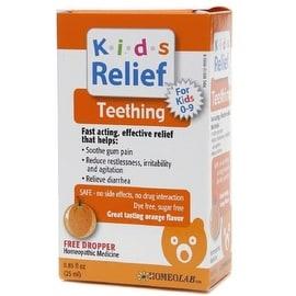 Homeolab USA Kids Relief Teething Drops, Ages 0-9, Orange Flavor 0.85 oz