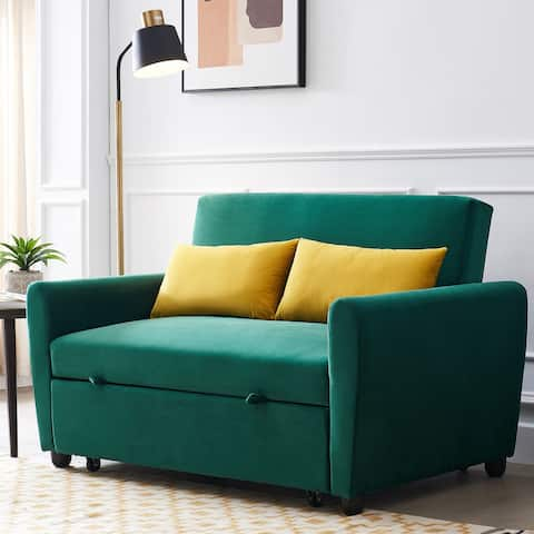 Modern Velvet Sofa with Pull-Out Sleeper Bed Loveseat Couch