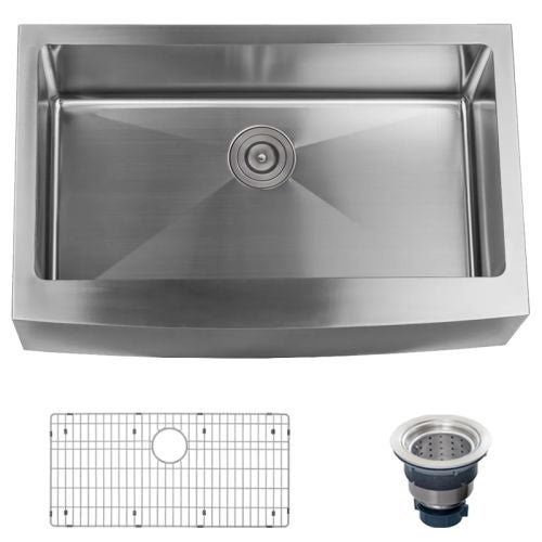 "Miseno MSS3320F Farmhouse 33"" Single Basin Stainless Steel Kitchen Sink with Apron Front - Drain Assembly and Basin Rack"
