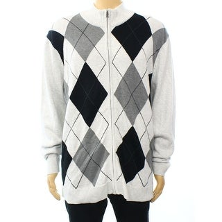 INC NEW Gray Heather Mens Size 2XL Full Zip Argyle Mock Neck Sweater