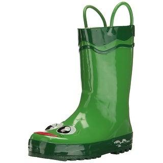 Western Chief Boys Green Frog Mid-Calf Pull On Rain Boots