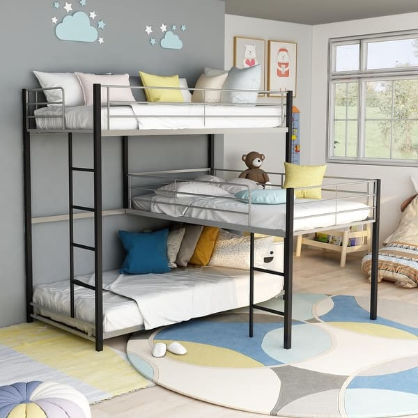 Furniture Of America Hilt Contemporary Black Twin Triple Bunk Bed Overstock 21257670