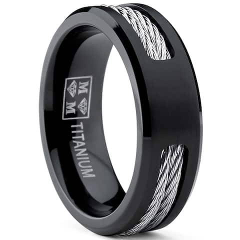 Oliveti Men's Black Titanium ring Wedding band with Stainless Steel Cables sizes 7 to 12
