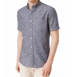 Tommy Hilfiger NEW Blue Mens Size XLT Pocket Linen Button Down Shirt