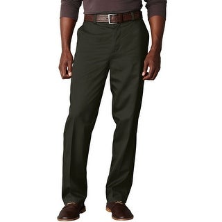 Dockers Signature Khaki Classic Flat Front Chinos Pants Dark Olive 33 x 32