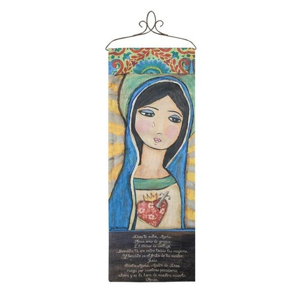"""36.5"""" Yellow and Blue Immaculate Printed Rectangular Wallhanging with Top - N/A"""