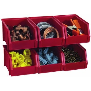 Stack-On BIN-503-PACK Small Parts Storage Organizer Bin, Red