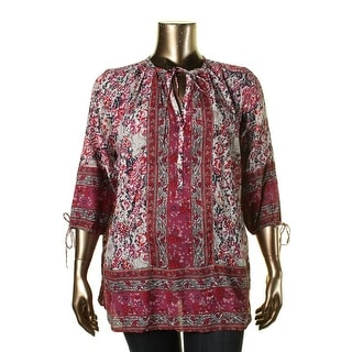Lucky Brand Womens Plus Printed Long Sleeves Tunic Top - 3X