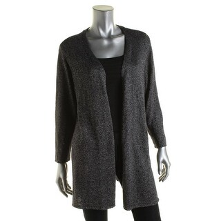 Eileen Fisher Womens Metallic Open Front Cardigan Sweater - L
