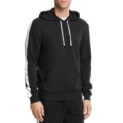 Alternative Mens Stripe Pullover Hooded Sweatshirt Large L Eco Black & White
