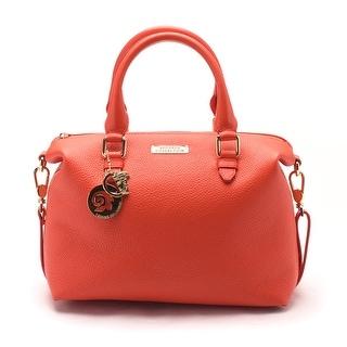 Versace Women Pebbled Leather Top Handle Shoulder Handbag Satchel Red - M