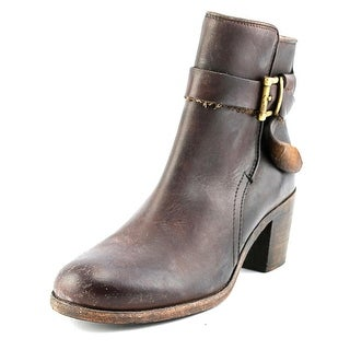 Frye Malorie Knotted Short Women Round Toe Leather Brown Ankle Boot