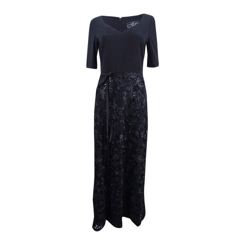 Alex Evenings Women's Plus Size Embellished V-Neck Gown - Black