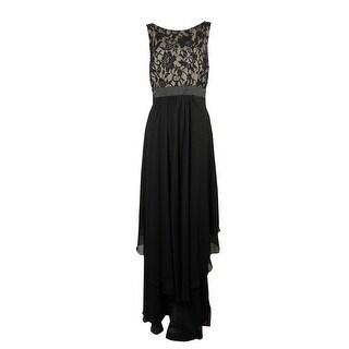 Betsy & Adam Women's V-Neck Lace Tiered Chiffon Dress - 10