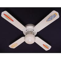 White Rad Surf Board Print Blades 42in Ceiling Fan Light Kit - Multi