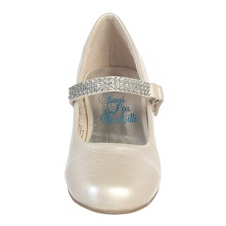 Girls Ivory Rhinestone Strap Mia Occasion Dress Shoes 11-4 Kids